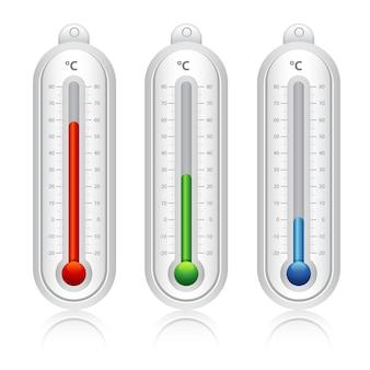 Temperaturanzeigen, blau, grün, rot