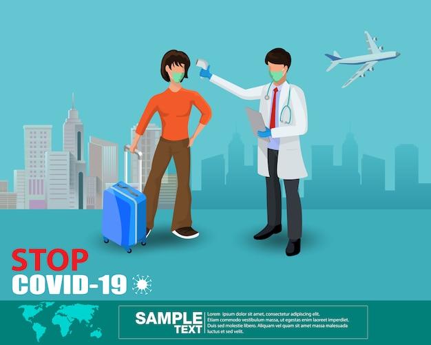 Temperaturthermometer covid-19 checkpoint, personen in der linie, um coronavirus durch offizier am checkpoint zu scannen, stoppen virusausbruch konzept, vor dem betreten des öffentlichen bereichs, gesundheitsvektor illustration.