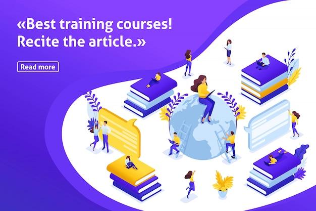 Template design artikel banner, isometrische konzeptsuche nach den besten e-kursen, online-lernprozess. kommunikation von schülern und lehrern über das internet