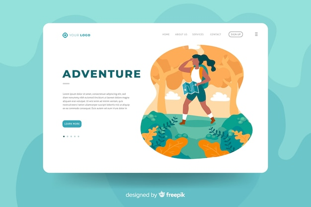 Template design für adventure landing page