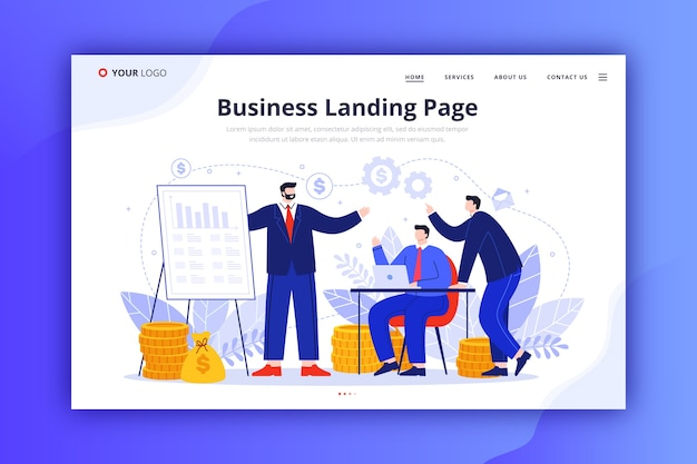 Template-design für business-landing-page