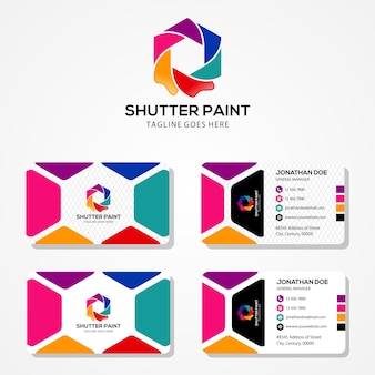 Template-design von logo und visitenkarte. eine kombination aus einer farbe und einer kameraöffnung