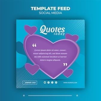 Template-feed social-media-post-theme zitate für instagram und andere soziale anzeigen