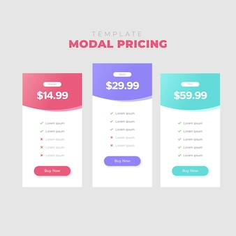 Template modal pricing ui