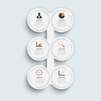 Template timeline infographic horizontal für sechs positionen