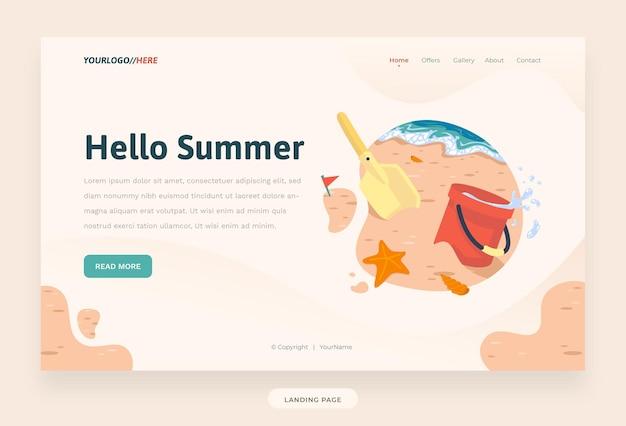 Template-website, sommer, mit eimer und schaufel