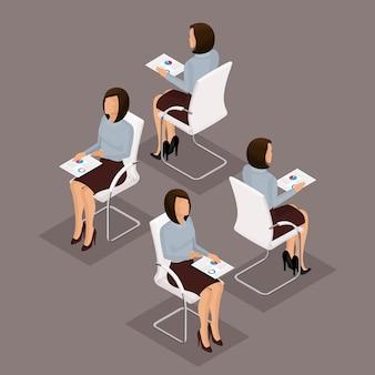 Tendenz-isometrische leute eingestellt, geschäftsfrau 3d, die mit dokumenten, grafiken, vorderansicht, hintere ansicht, stilvolle frisur, gläser, büroangestelltmann in einer klage lokalisiert arbeitet