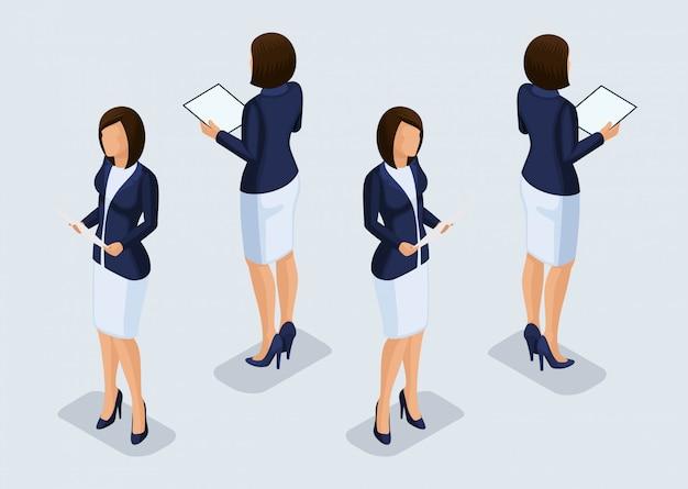 Tendenz-isometrische leute eingestellt, geschäftsfrau 3d in den anzügen, in den gesten der leute, in einer vorderansicht und in einer hinteren ansicht lokalisiert. vektor-illustration