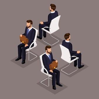 Tendenz-isometrischer leute-satz, geschäftsmänner 3d in den klagen, sitzend auf einem stuhl, einer vorderansicht und einer hinteren ansicht lokalisiert. vektor-illustration