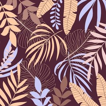 Tendenzhintergrund mit tropischen blättern und anlagen
