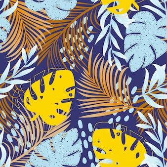 Tendenzielles abstraktes nahtloses muster mit buntem tropischem