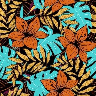 Tendenzielles abstraktes nahtloses muster mit bunten tropischen blättern und blumen auf dunkelheit