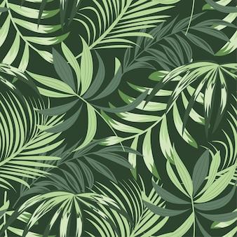 Tendenzielles helles nahtloses muster mit bunten tropischen blättern und anlagen auf grün