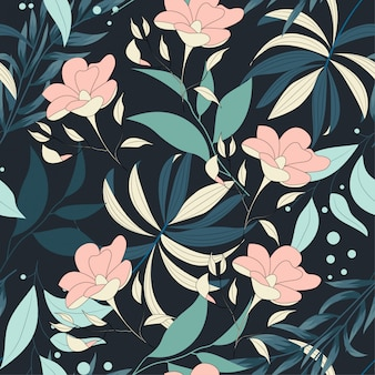 Tendenzielles helles nahtloses muster mit bunten tropischen blättern und pflanzen