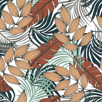 Tendenzieren sie abstraktes nahtloses muster mit bunten tropischen blättern und anlagen auf einem hellen hintergrund