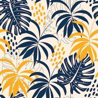 Tendenzieren sie abstraktes nahtloses muster mit bunten tropischen blättern und anlagen auf pastell