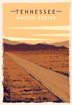 Tennessee retro poster. usa tennessee reiseillustration. vereinigte staaten von amerika