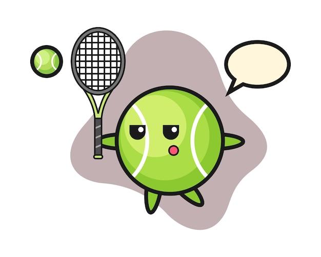 Tennis-cartoon als tennisspieler