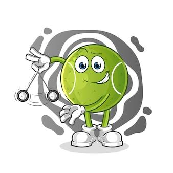Tennis hypnotisierender cartoon. cartoon maskottchen