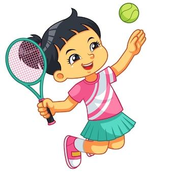 Tennis mädchen sprung smash.