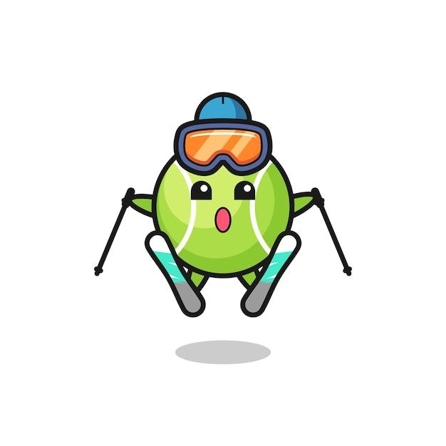 Tennis-maskottchen-charakter als skispieler, süßes design für t-shirt, aufkleber, logo-element