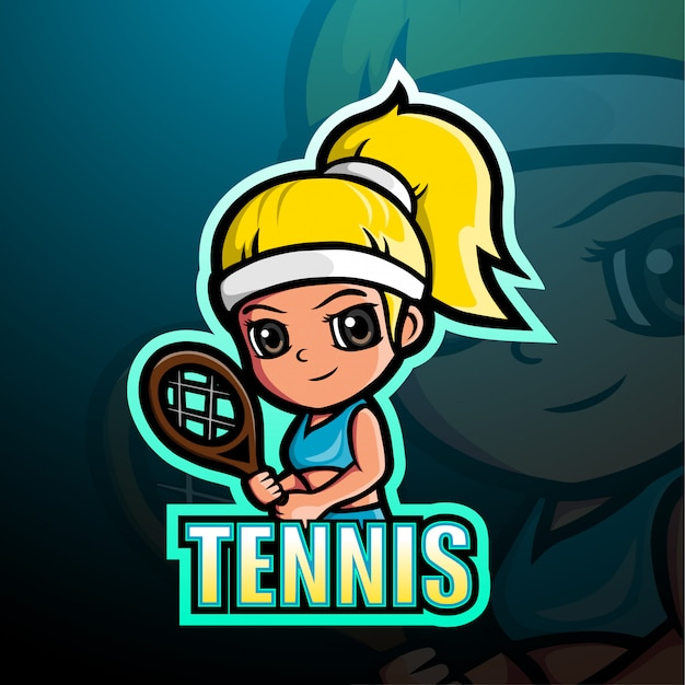 Tennis maskottchen esport illustration