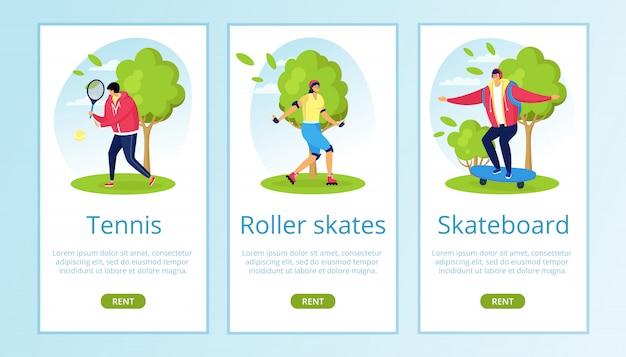 Tennis, rollschuhe, skateboardverleih für sommersport auf naturillustration. aktiver lebensstil jugendfahrt auf der straße. fitnessgeschäft, urbane freizeit und spaß extrem.