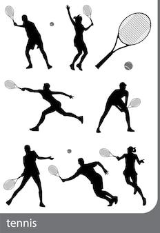 Tennis-silhouette-set, isoliert, schwarz auf weißem hintergrund