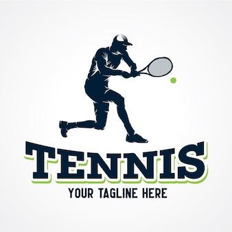 Tennis-spieler-logo-vektor, erstklassiger schattenbild-vektor