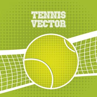 Tennisballentwurf über grünem hintergrund