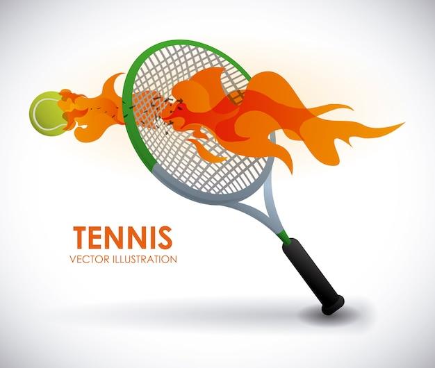 Tennisdesign über grauer hintergrundvektorillustration