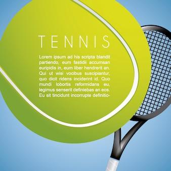 Tennisentwurf über blauer hintergrundvektorillustration