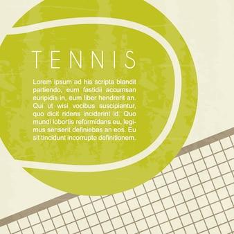 Tennisentwurf über weißer hintergrundvektorillustration