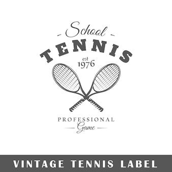 Tennisetikett auf weißem hintergrund. element. vorlage für logo, beschilderung, branding. illustration