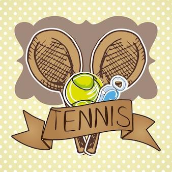 Tennisikonen über beige hintergrundvektorillustration