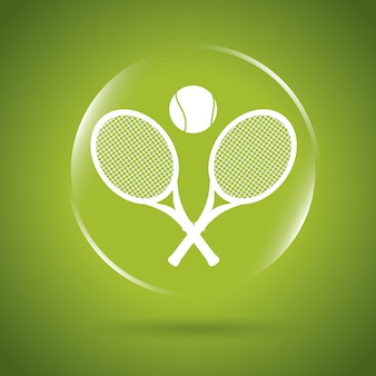Tennisikonenblase über grüner backgroun vektorillustration