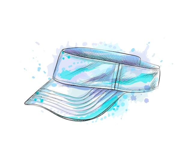 Tennismütze, visierkappe aus einem spritzer aquarell, handgezeichnete skizze. illustration von farben