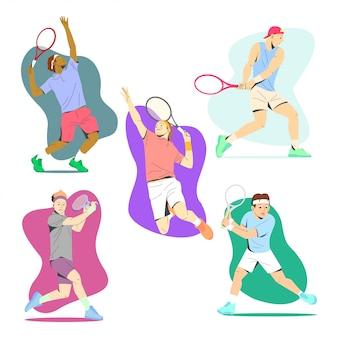 Tennispieler in verschiedenen bewegungen illustration sammlung
