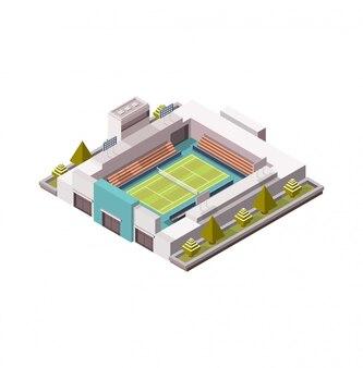 Tennisplatz, isometrische plattform mit grasbedeckung, illustration, tennisspiel, low poly. offene fläche. 3d