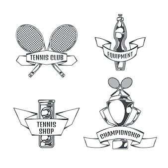 Tennisset von vier isolierten logos im vintage-stil