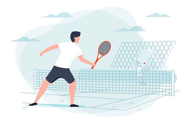 Tennisspiel. mann mit schläger im hintergrund mit gericht. banner, postervorlage