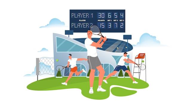 Tennisspieler, der einen schläger auf tennisplatz hält. tennisspielertraining. athlet im stadion. meisterschaftsturnier. illustration
