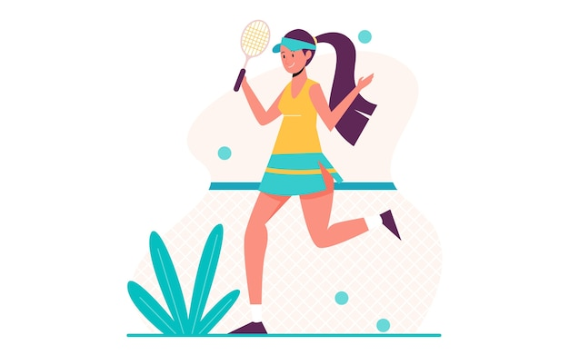Tennisspielerin, die flaches illustrationsdesign übt`