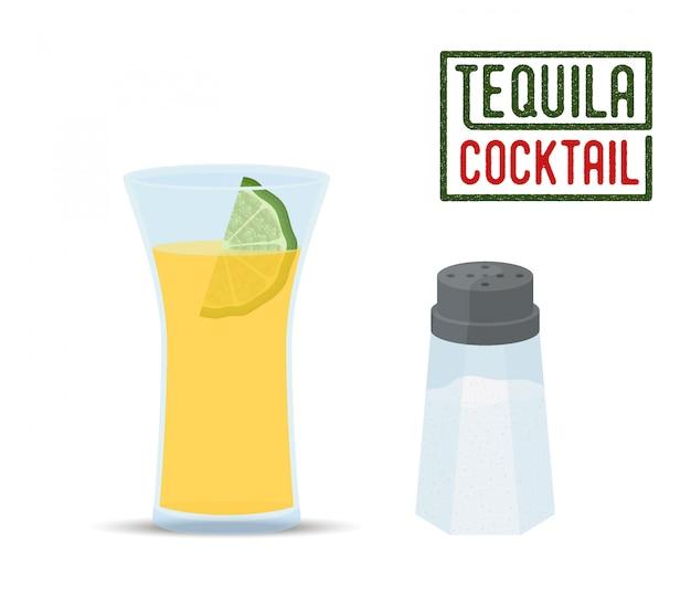 Tequila cocktail - glas mit limette, salzstreuer