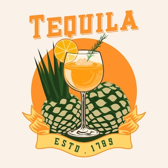 Tequila cocktailagave tequila premium-vektor
