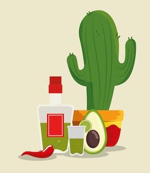 Tequila-flasche mit kaktuspflanze und avocado