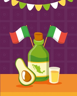Tequila-flasche und avocado