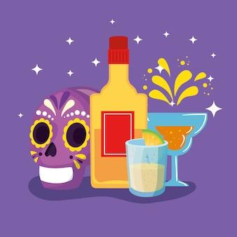 Tequila-flasche und cinco de mayo-elemente