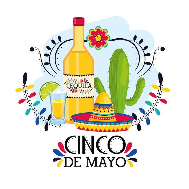 Tequila mit hut zu traditionellem mexikanischem ereignis