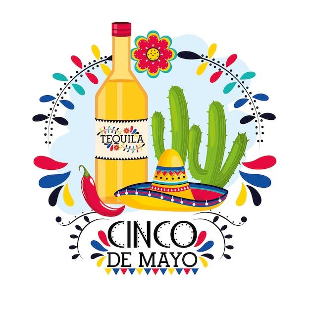 Tequila mit kaktuspflanze zu mexikanischem ereignis